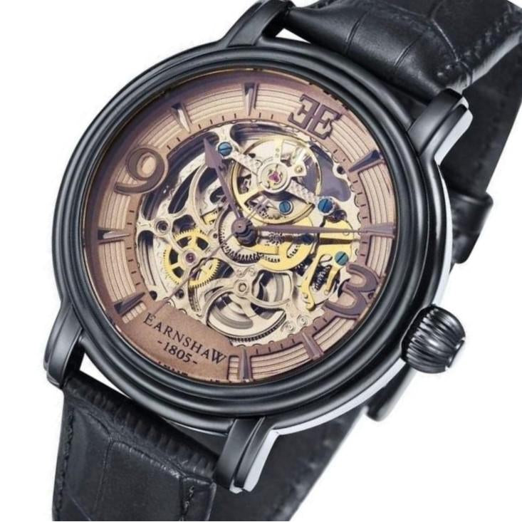 Earnshaw Longcase Men's Automatic Leather Watch - ES-8011-08