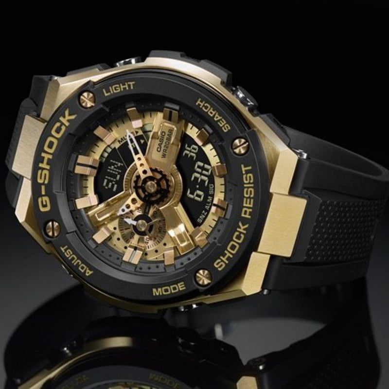 Casio G-Shock G-Steel Black & Gold Digital-Analogue Men's Watch - GST400G-1A9