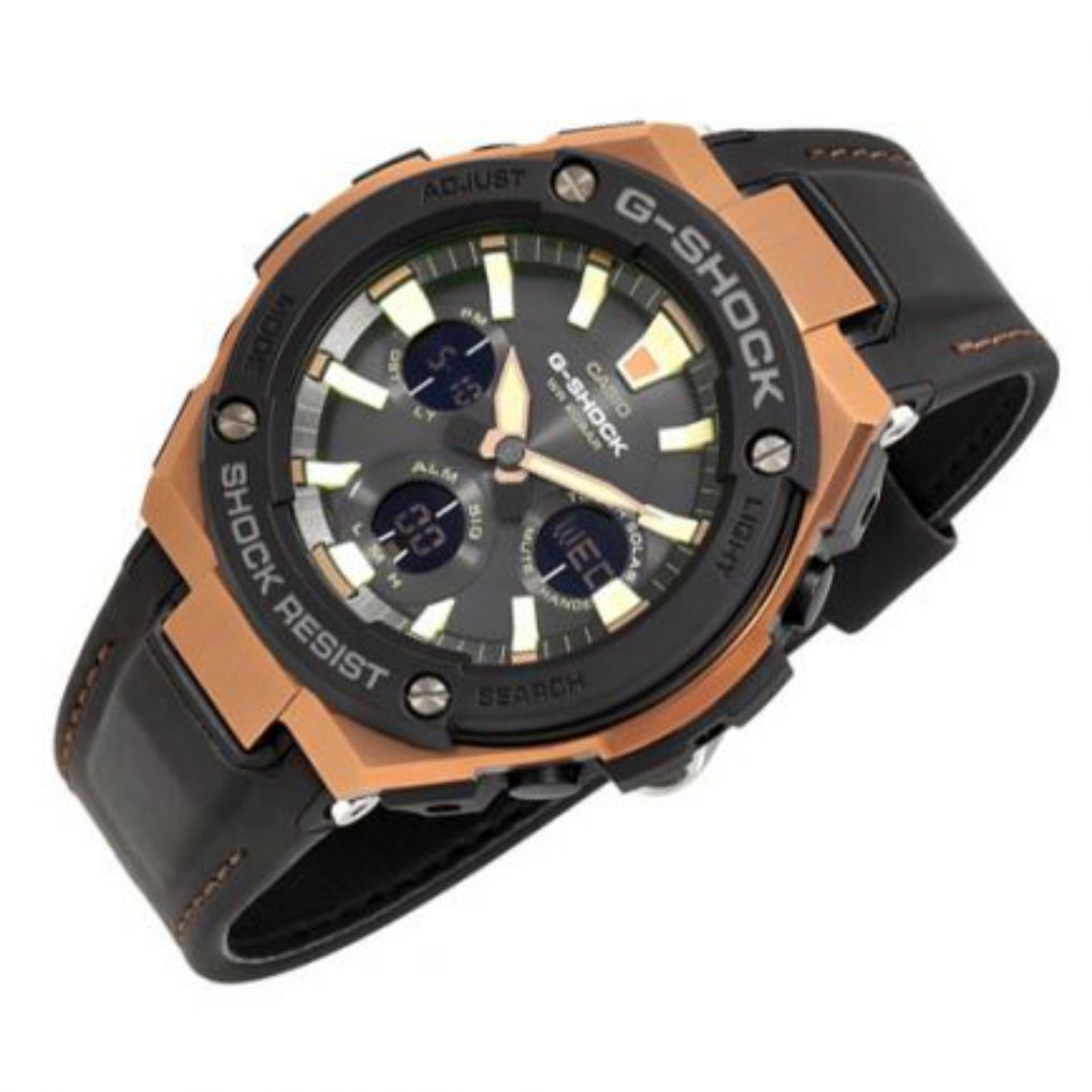 Casio G Shock Steel Series Tough Leather Mens Watch Gsts120l 1a Gst S120l 1b