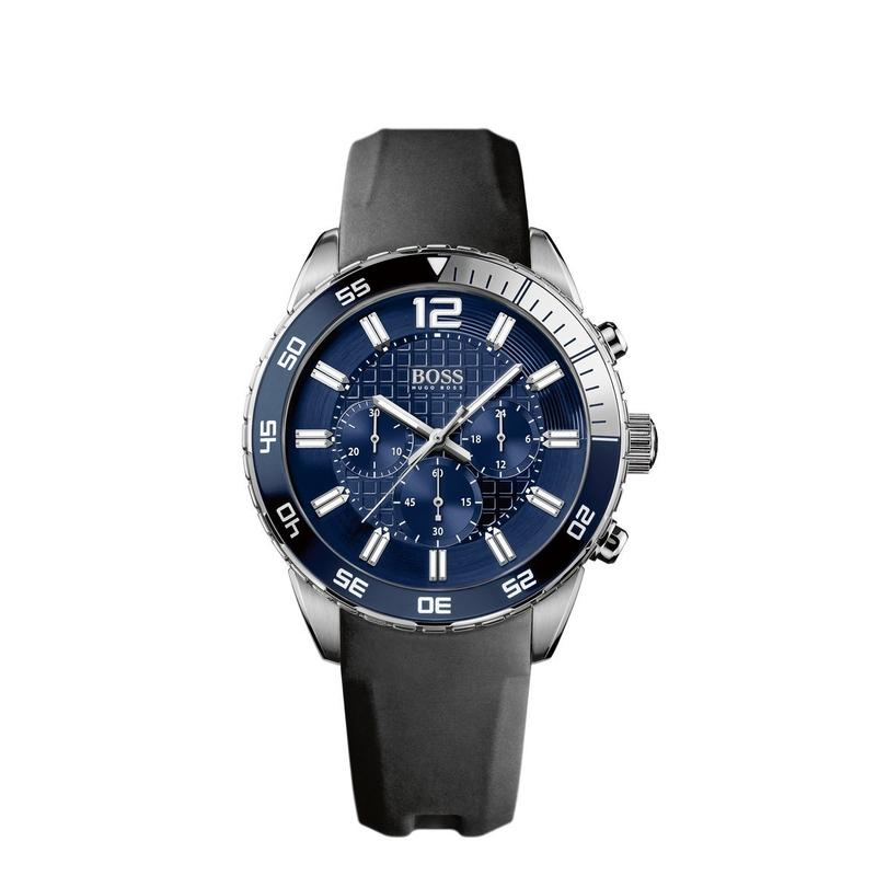 Hugo Boss Black Deep Blue Chronograph Rubber Black & Coated Leather Mens Watch - 1512803