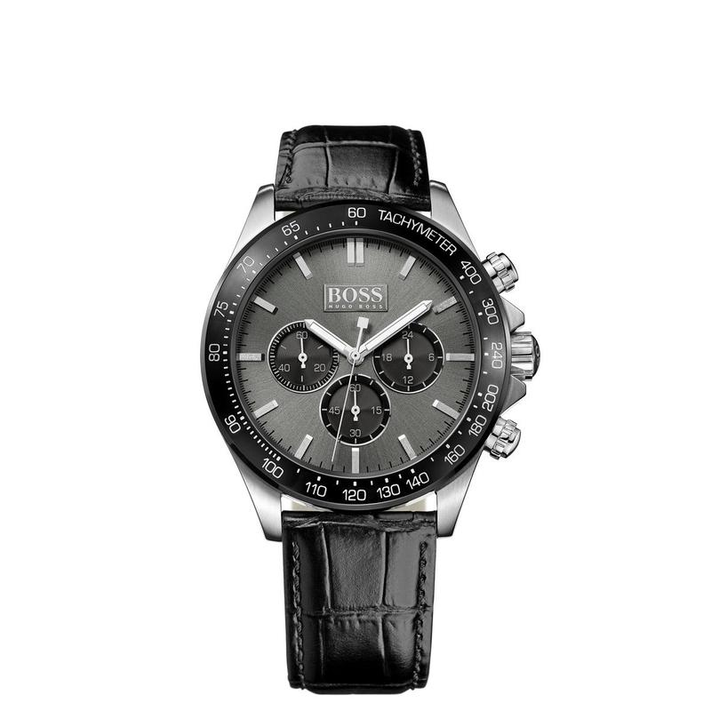 Hugo Boss Black Ikon Chronograph Black Leather Mens Watch - 1513177