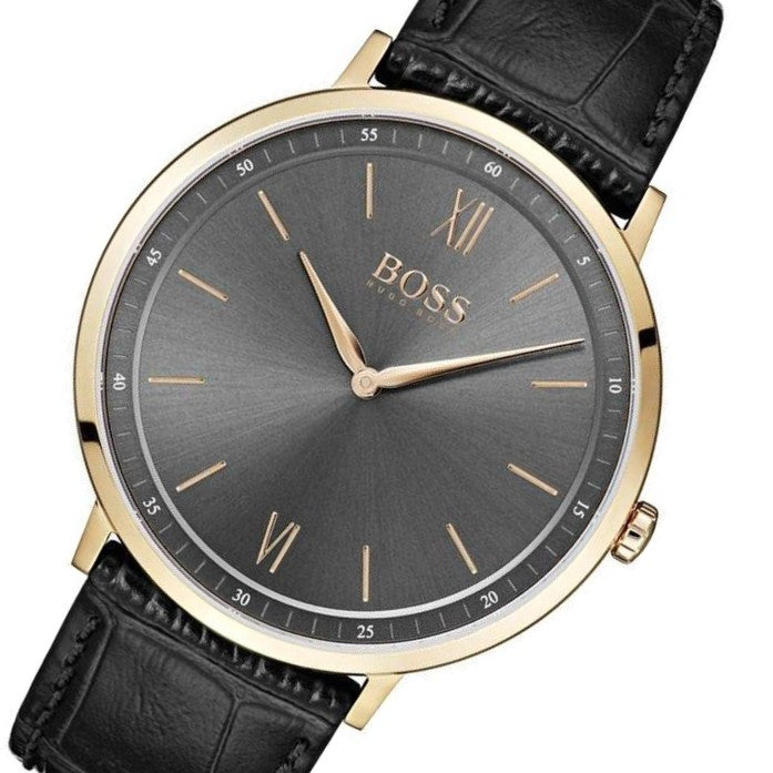Hugo Boss Essential Black Leather Men's Watch - 1513649
