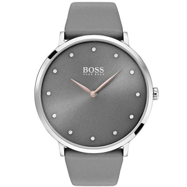 Hugo Boss Jillian Grey Leather Ladies Watch - 1502413-The Watch Factory Australia