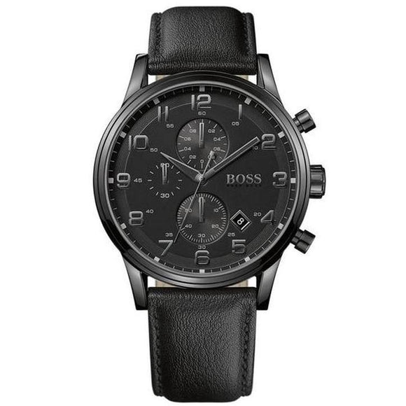 Hugo Boss Men's Aeroliner Black Chronograph Leather Watch - 1512567-The Watch Factory Australia