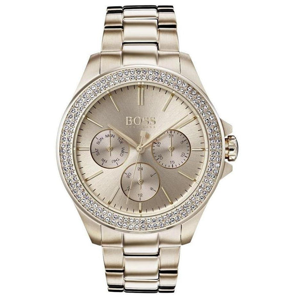 Hugo Boss Premiere Carnation Gold Crystal Women's Watch - 1502443