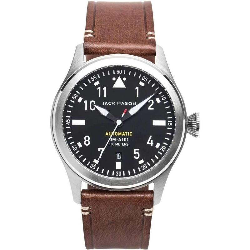 Jack Mason Aviator Automatic Leather Mens Watch - JM-A101-014