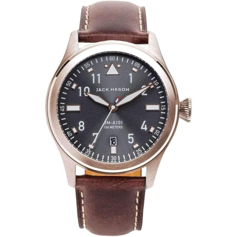 Jack Mason Aviator Leather Mens Watch - JM-A101-102