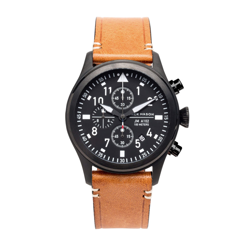 Jack Mason Men's Black Aviator Chronograph Watch - JM-A102-019