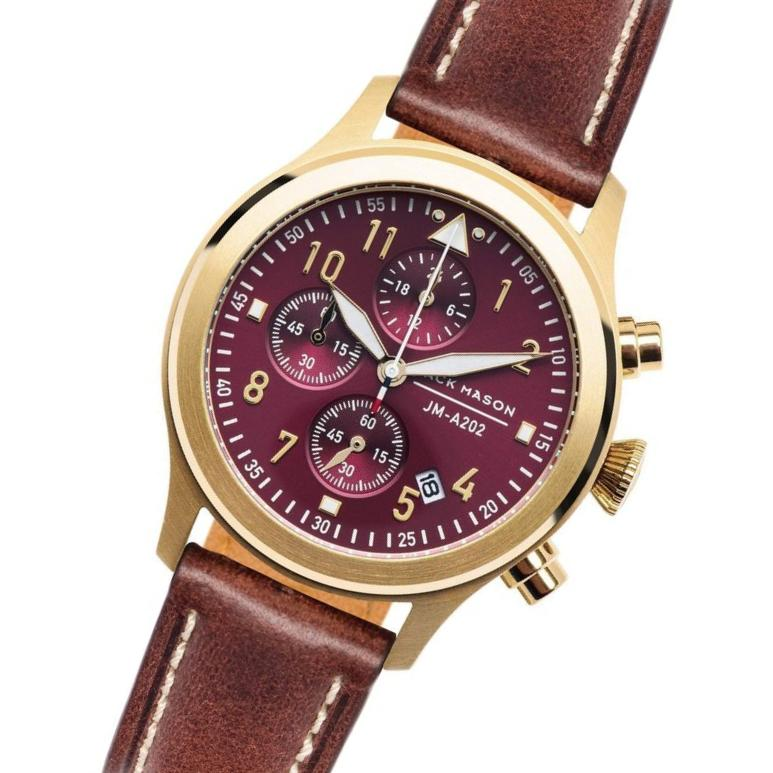Jack Mason Women's Burgandy Aviator Chronograph Watch - JM-A202-003