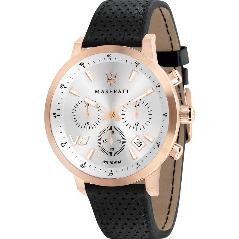 MASERATI GT Rose Gold Case Black Leather Men's Watch -R8871134001-The Watch Factory Australia
