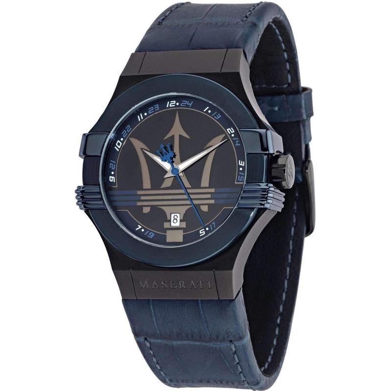 Maserati Potenza Men's Navy Leather Watch - R8851108007-The Watch Factory Australia