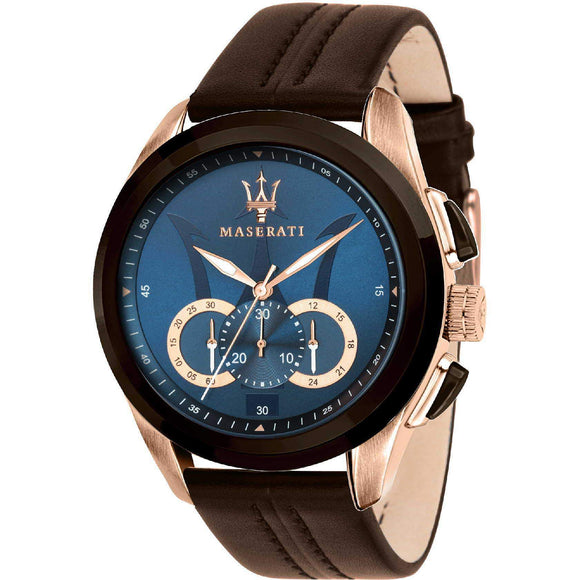 Maserati Traguardo Men's Brown Leather Watch - R8871612024-The Watch Factory Australia