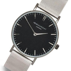 Mr. Beaumont Black Dial Silver Steel Mesh Mens Watch