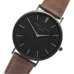 Mr. Beaumont Matt Case Brown Leather Mens Watch