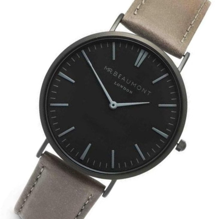 Mr. Beaumont Matt Case Grey Leather Mens Watch