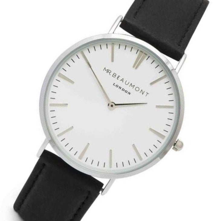 Mr. Beaumont Silver Case Black Leather Mens Watch