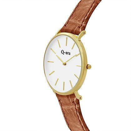 Q-era Brown Leather Women's Watch - QV2804-4
