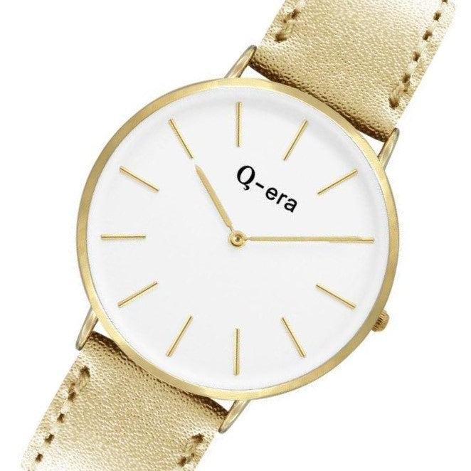 Q-era Metallic Gold Leather Women's Watch - QV2804-8
