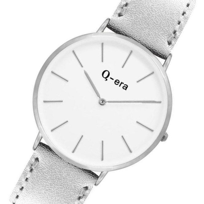 Q-era Metallic Silver Leather Women's Watch - QV2804-9