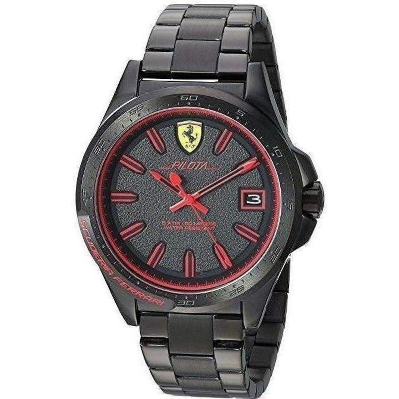 Scuderia Ferrari Pilota Ionic Plated Black Steel Mens Watch - 830425