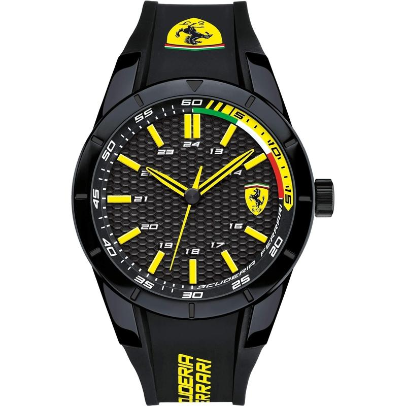 Scuderia Ferrari Redrev Black & Yellow Silicone Mens Watch - 830302