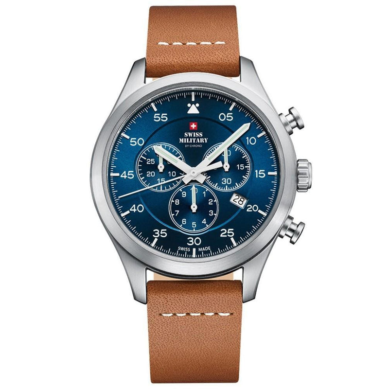 Swiss Military Brown Leather Chrono Men's Watch - SM34076.06