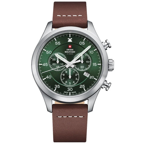 Swiss Military Brown Leather Chrono Men's Watch - SM34076.07