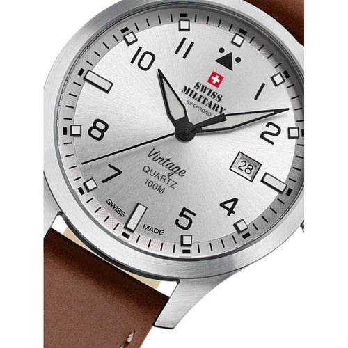 Swiss Military Brown Leather Men's Watch - SM34078.05