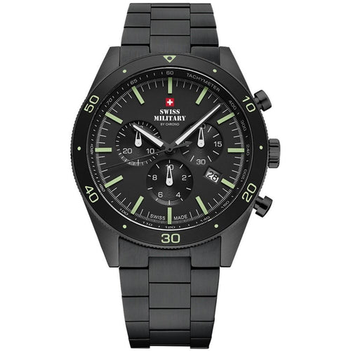 Swiss Military Black Steel Chrono Men's Watch - SM34079.03
