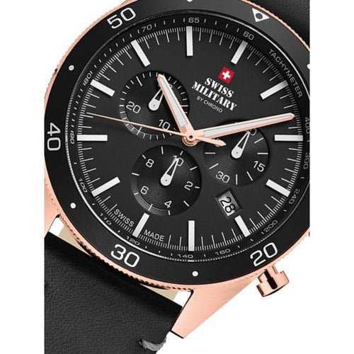 Swiss Military Black Leather Chrono Men's Watch - SM34079.07