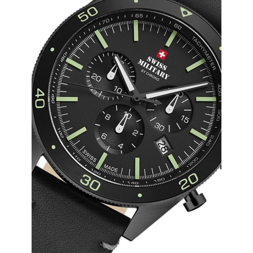 Swiss Military Black Leather Chrono Men's Watch - SM34079.08