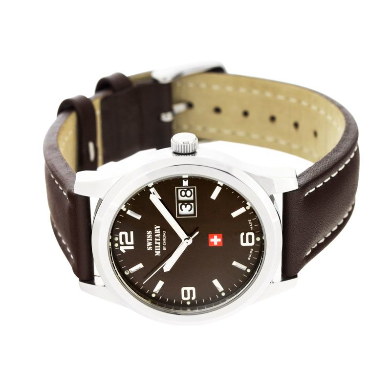 Swiss Military Brown Leather Men's Watch - SM34004.08