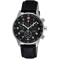 Swiss Military Black Leather Men's Watch - SM34012.05