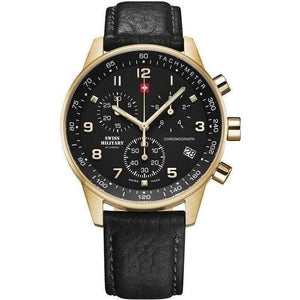 Swiss Military Chronograph Leather Men's Watch - sm34012-10
