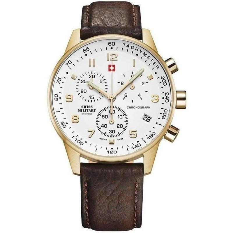 Swiss Military Chronograph Leather Mens Watch - SM34012.07