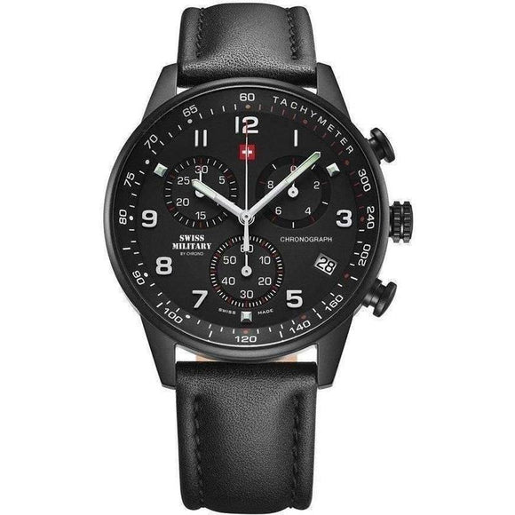 Swiss Military Chronograph Leather Mens Watch - SM34012.08