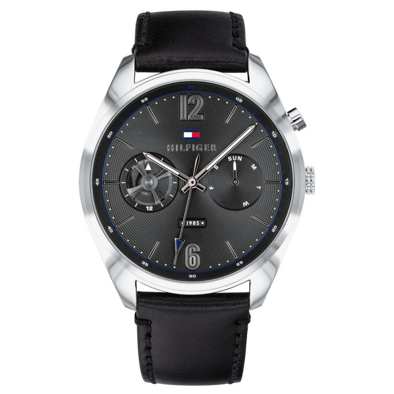 Tommy Hilfiger Black Leather Men's Watch - 1791548