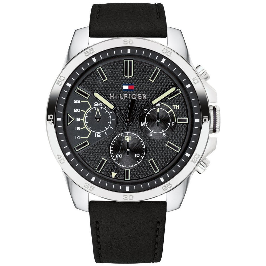 Tommy Hilfiger Iconic Black Leather Men's Watch - 1791563