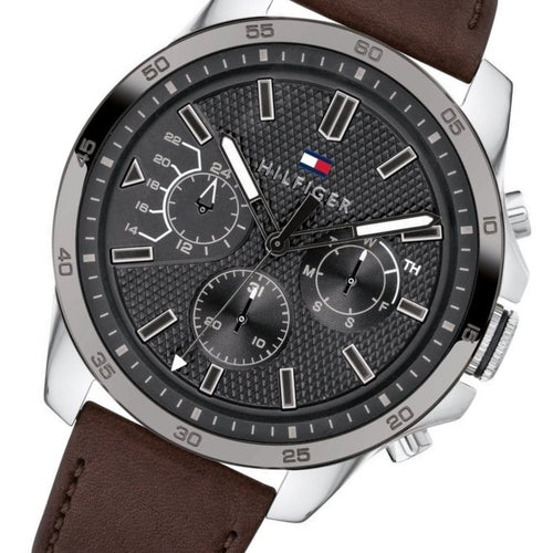 Tommy Hilfiger Iconic Brown Leather Men's Watch - 1791562