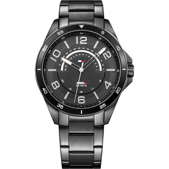 Tommy Hilfiger Men's Ian Black Plated-Steel Sports Watch - 1791393-The Watch Factory Australia