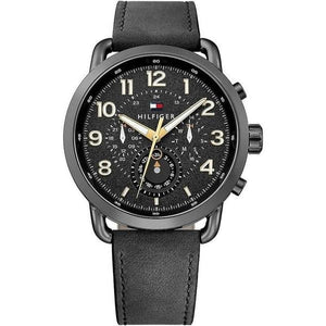 Tommy Hilfiger The Briggs Men's Black Leather Watch - 1791426-The Watch Factory Australia