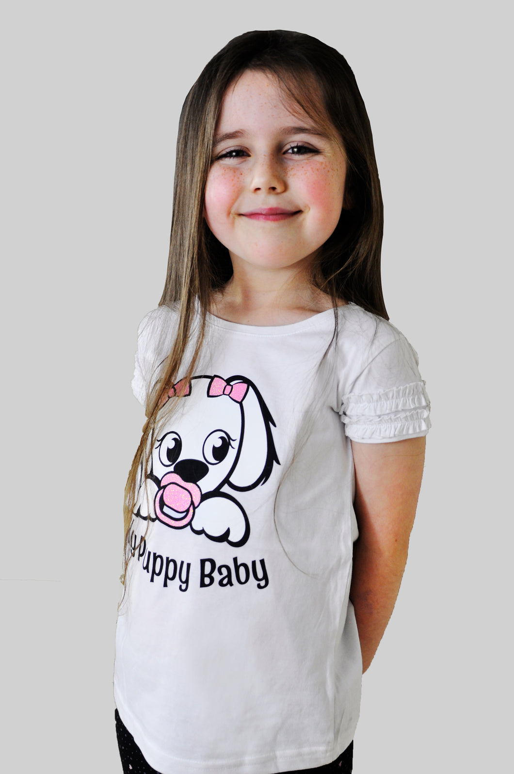 My Puppy Baby Kids T-Shirt with Sparkle Logo and Frill Sleeve