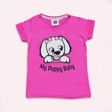 My Puppy Baby Kids Pink T-Shirt with Sparkle Logo and Frill Sleeve