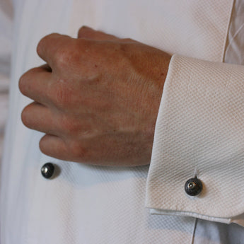 ADAM 18ct White Gold and Enamel 'Dumbell' Cufflinks