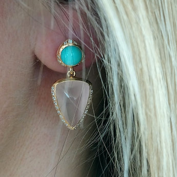 RIVOIR 18ct Rose Gold, Turquoise and Rose Quartz Earrings
