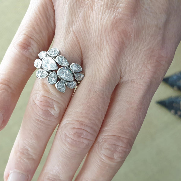 SOLEY Platinum & Diamond 'Mixed Pears' Ring