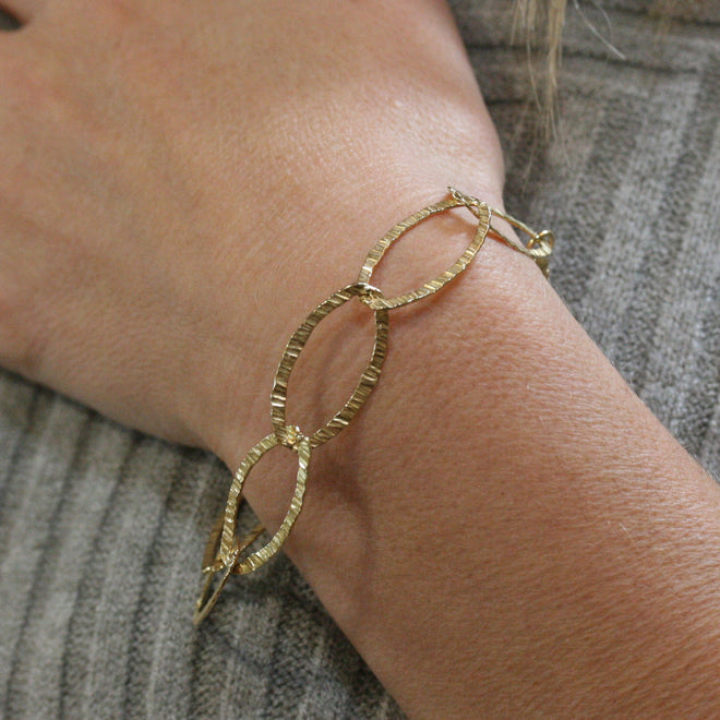 SAN Yellow Gold Plated Silver Textured Open Link Bracelet