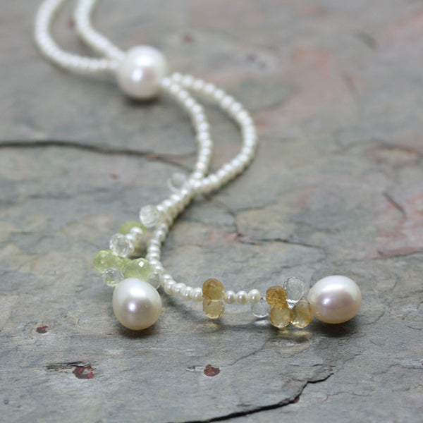 GELLNER Freshwater Pearl Lariat Style Necklace with Briollettes