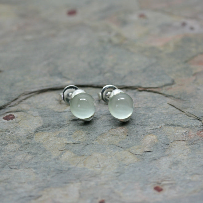 QUINN Silver Studs with Prasiolite Cabochons