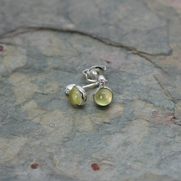QUINN Silver, Lemon Quartz & Diamond 'Sweet End' Stud Earrings